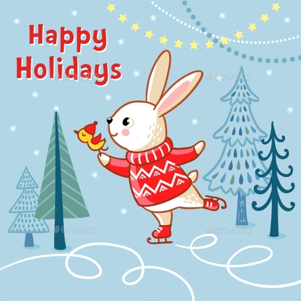 Christmas Card with a Hare Who Skates