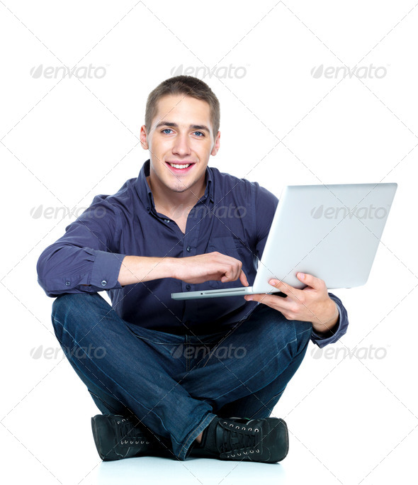 man with laptop - Stock Photo - Images