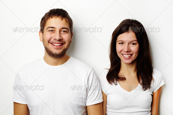 PhotoDune Couple in white T-shirts 1860393