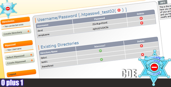 CodeCanyon Client Directory Enforcer Easy htaccess htpasswd 72253