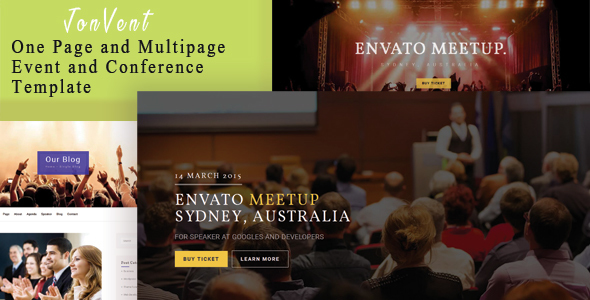 Jonvent – A single Web page and Multipage Occasion and Conference HTML Template (Events)