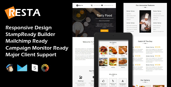 Download RESTA - Responsive Restaurant Email Template + Stamp Ready Builder nulled download