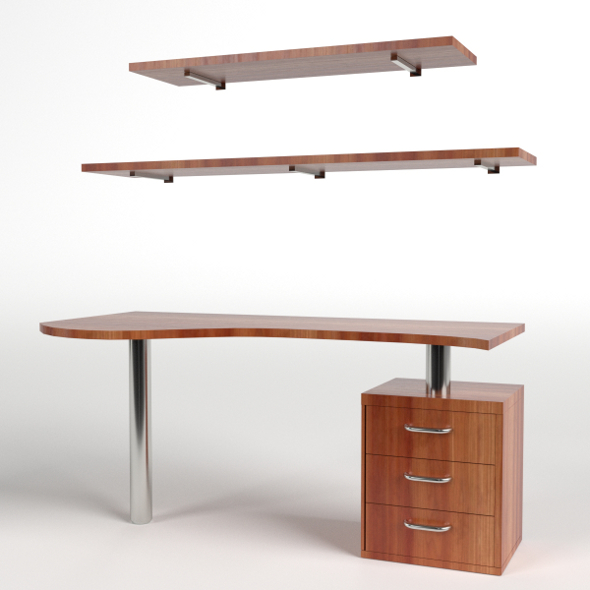 Desk with drawers and shelf 1 - 3DOcean Item for Sale