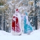 Ded Moroz and Snegurochka Walking Together in Beautiful Forest at Christmas Eve