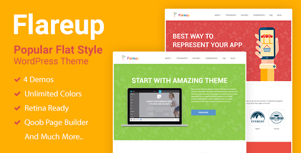 Download Flareup - Responsive Flat WordPress Theme nulled download