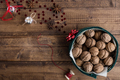 Walnuts in Christmas Tin with Festive Decorations on Rustic Table