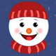 Cartoon Christmas and New Year Snowman Emoji