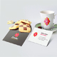 Branding Coffe Cup with Business Card Mockup