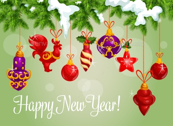 Happy New Year Decorations Vector Greeting Card