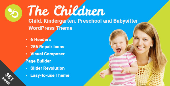 Download The Children - Child, Kindergarten and Babysitter WordPress Theme nulled download