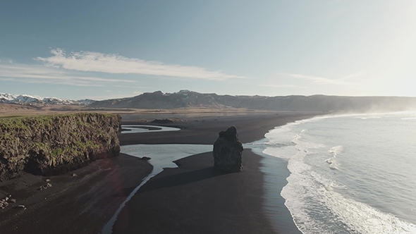 VideoHive Reynisfjara Black Sand Beach With Rocks 18923926