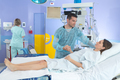 pregnant woman and her husband during visit at the hospital