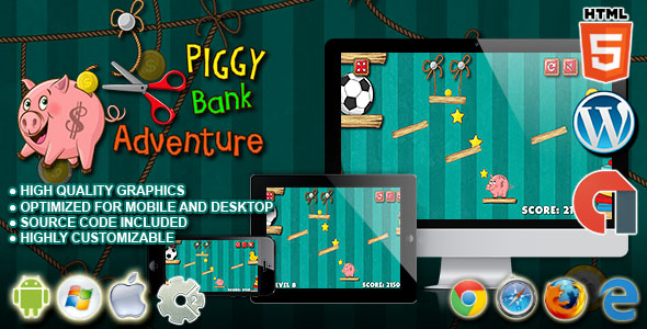 Download PiggyBank Adventure - HTML5 Construct 2 Physic Game nulled download