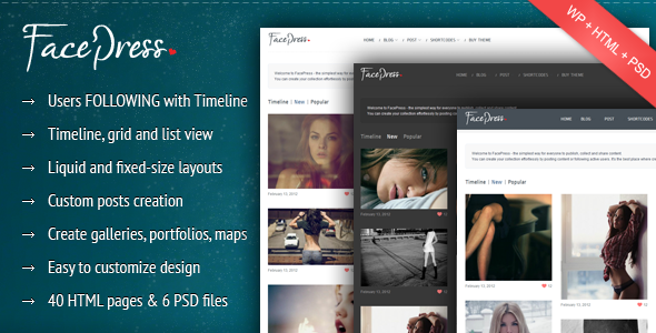 ThemeForest FacePress Community Content Sharing 1861805