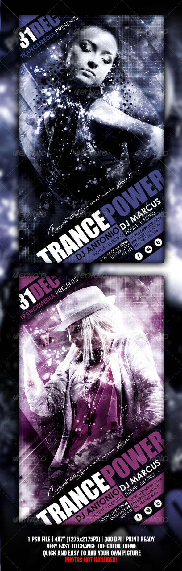 Trance Energy Flyer - Flyers Print Templates
