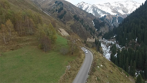 VideoHive Mountain Road and White Car 18925666