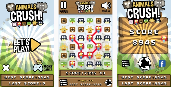 Animals Crush Match3 – HTML5 Game + Android + AdMob (Capx) (Games)