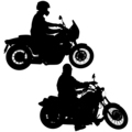 Set of biker motocross silhouettes, illustration