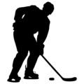 silhouette of hockey player. Isolated on white.