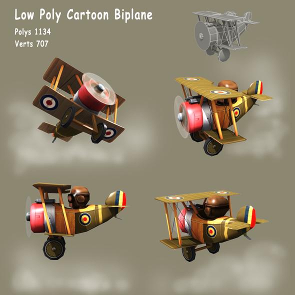 Low poly Cartoon WW1 Biplane - 3DOcean Item for Sale