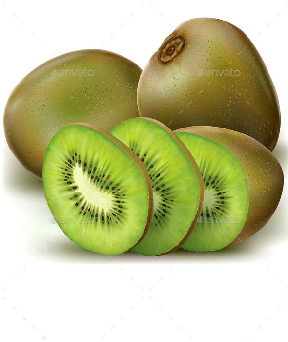 Kiwi Fruits and Sliced