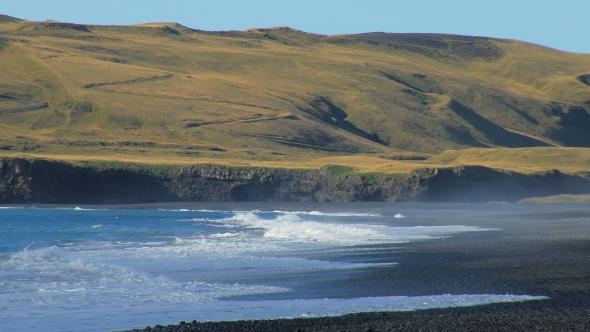 VideoHive Powerful Waves of Atlantic Ocean on Southern Coast of Iceland Black Sand Beach Near Volcano Katla 18930428