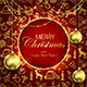 Merry Christmas on Red Background with Golden Decoration and Baubles