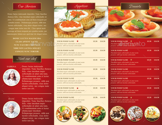 Trifold restaurant brochure and menu by monggokerso – Restarunt Brochure
