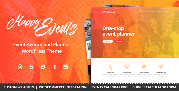 Download Happy Events - Holiday, Event Agency & Planner Events WordPress Theme nulled download
