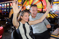 Victorious couple in casino