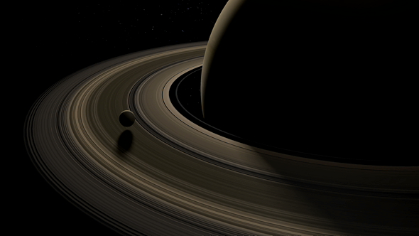 Download Moon in Saturn Rings Planet nulled download