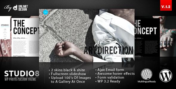 Studio8 - A Creative Minimalist WordPress Theme - ThemeForest Item for Sale