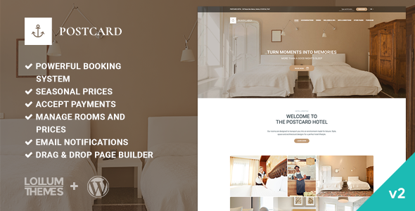 Postcard - Modern Hotel WordPress Theme