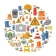 Safety Work Flat Vector Icons Round Background