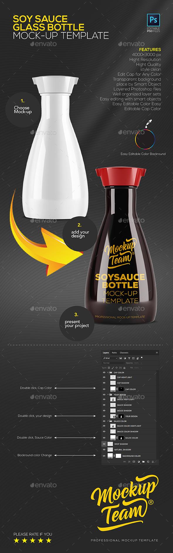 Soy Sauce Glass Bottle Mockup