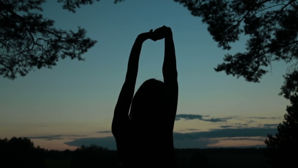 VideoHive Young Woman Stretching Towards the Sky in the Forest After Sunset 18950164