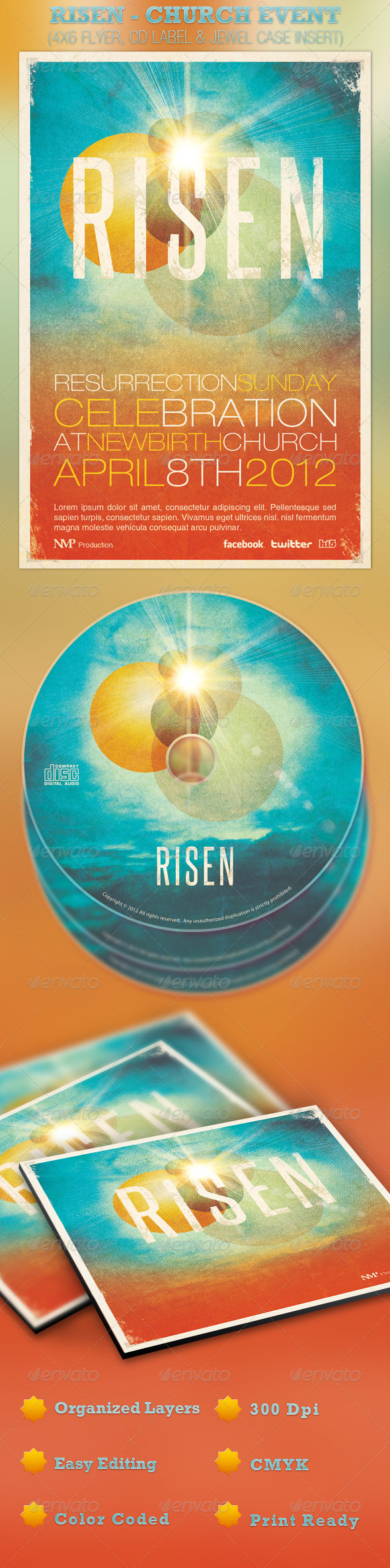 GraphicRiver Risen Church Event Flyer and CD Template 1865100