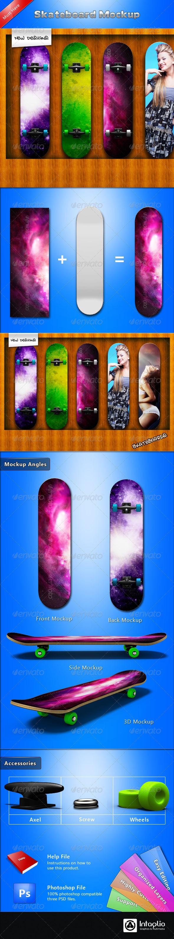 GraphicRiver Skateboard Mockup 1598876