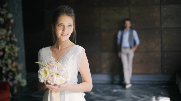 VideoHive Bride in White Dress Dress Waiting for Groom in Wedding Day Indoor 18952133