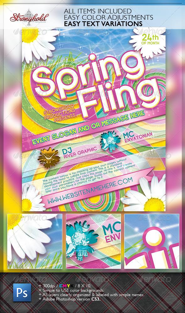 GraphicRiver Spring Fling Dance Flyer Template 1831545