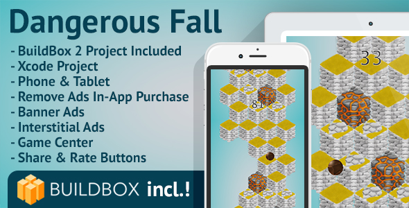 Dangerous Fall: iOS, BuildBox Included, Easy Reskin, AdMob, RevMob, Remove Ads - CodeCanyon Item for Sale
