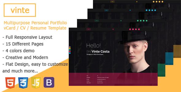 Download Vinte - Personal / CV / Resume HTML Template