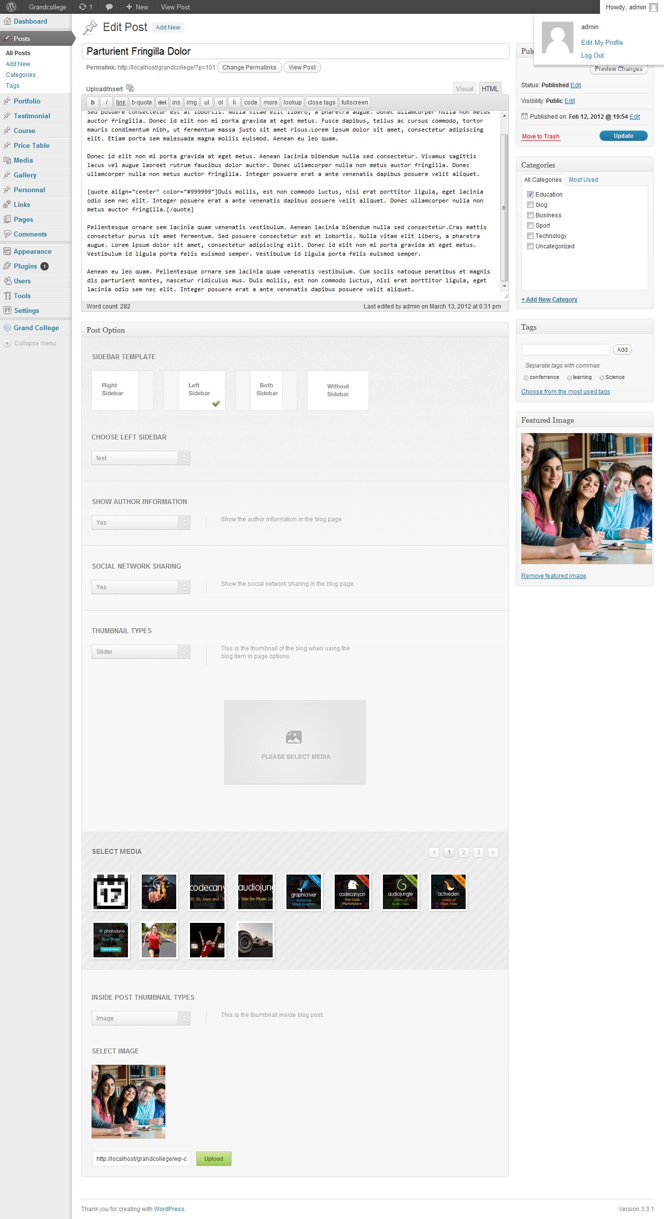 Grand College - Wordpress Theme For Education - adminpanel