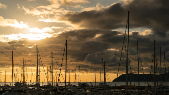 VideoHive Sunset Behind the Yachts at Marina in Bar City Montenegro 18956509