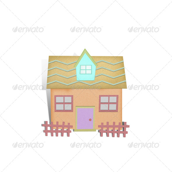 Cartoon house from recycle paper on white background - Stock Photo - Images