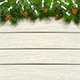 Christmas White Wooden background with Snow on Fir Tree Branches and Pine Cone