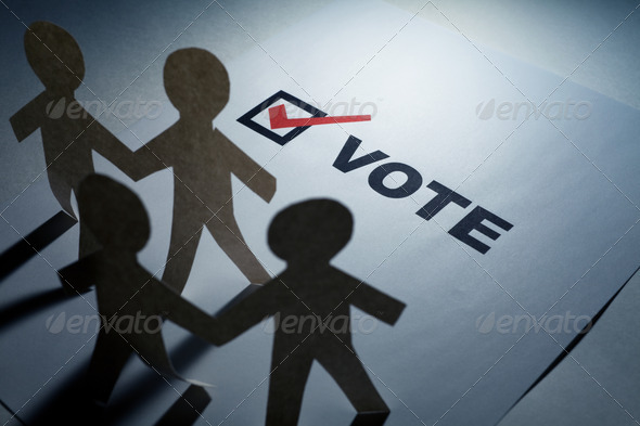 vote and Paper Chain Men - Stock Photo - Images