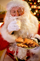 Santa Claus enjoy in the served food