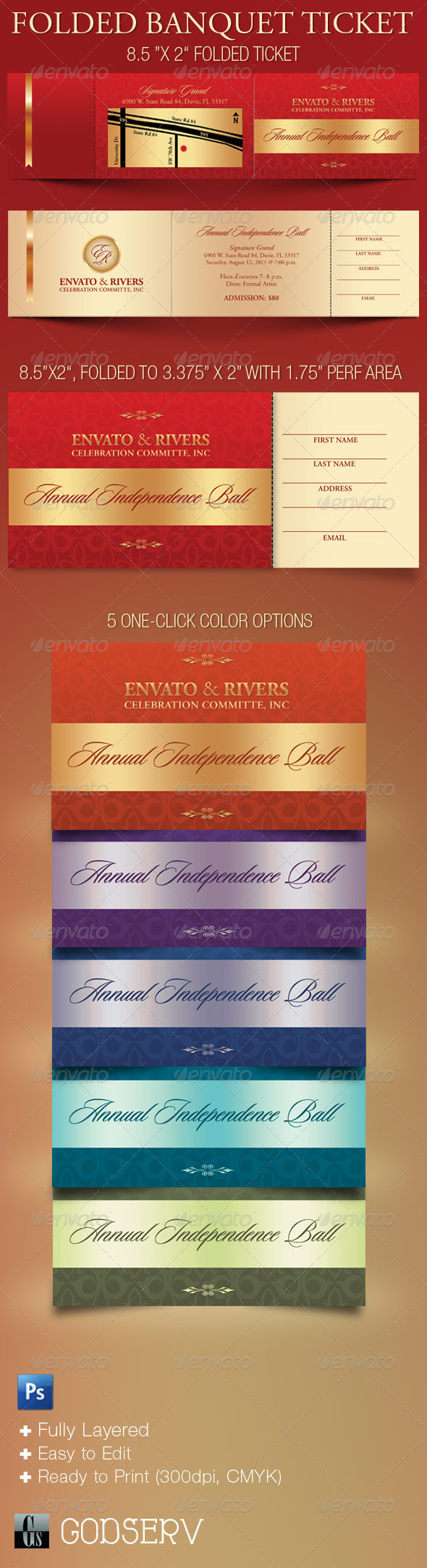 Folded Banquet Ticket Template - Miscellaneous Print Templates
