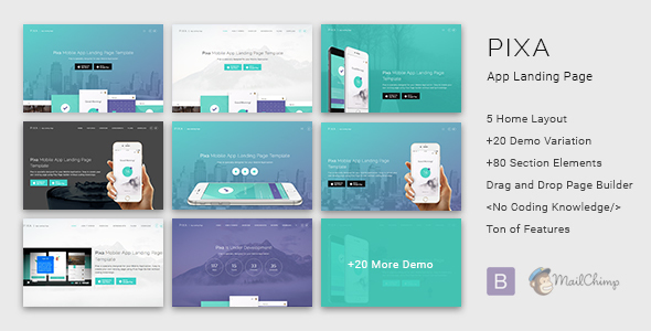 Download Pixa - App Landing Page with Page Builder nulled download